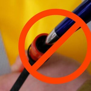So bitte auch nicht: Das HR-Mundventil darf nicht mit einem Kugelschreiber entlüftet werden!