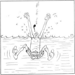 Verlassen ihn jedoch die Kräfte, muss schlucken er des Meeres Säfte.