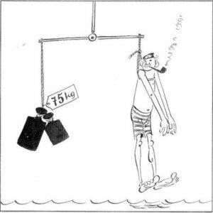 Entblößt in Badehose schlicht, vermessen wir hier sein Gewicht.