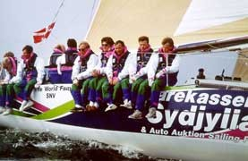 """The danish racing yacht """"Sydjylland"""". The professional crew need not be scared of wind or weather, because they trust in SECUMAR."""