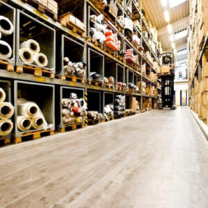 The warehouse, where all the parts and materials for the manufacture of lifejackets are checked and stored.