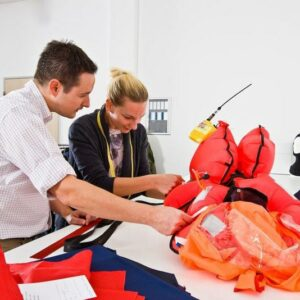 Tailors and technical experts work in the R&D department to develop the optimum lifejacket.