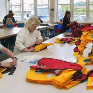 The lifejackets are folded and packed.